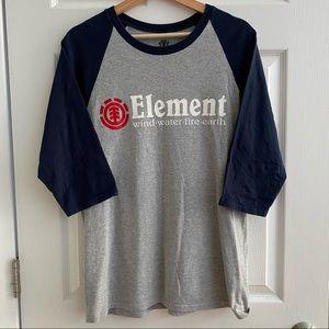 ELEMENT Baseball Tee Grey & Navy Men's Medium